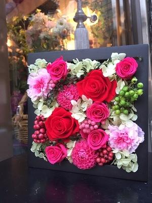就任祝いに贈られたプリザーブドフラワー祝い花|